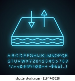 Breathable mattress neon light icon. Crib mattress with breathable cover fabric. Air circulation. Glowing sign with alphabet, numbers and symbols. Vector isolated illustration