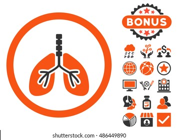 Breathe System icon with bonus pictogram. Vector illustration style is flat iconic bicolor symbols, orange and gray colors, white background.