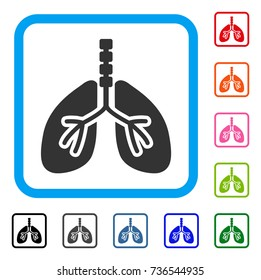 Breathe System icon. Flat gray iconic symbol in a light blue rounded rectangular frame. Black, gray, green, blue, red, orange color additional versions of Breathe System vector.