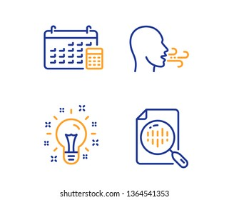 Breathing exercise, Idea and Calendar icons simple set. Analytics chart sign. Breath, Creativity, Calculator device. Report analysis. Education set. Linear breathing exercise icon. Colorful design set
