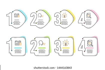 Breathing exercise, Idea and Calendar icons simple set. Analytics chart sign. Breath, Creativity, Calculator device. Report analysis. Education set. Infographic timeline. Line breathing exercise icon
