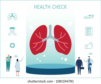 Breathing lungs anatomy check up infographic.