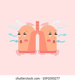 Breathing lungs character, conceptual vector illustration with air flow arrows. Respiratory system inspiration and expiration process.