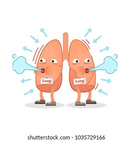 Breathing lungs character vector illustration, conceptual respiration. Inhale  - exhale.