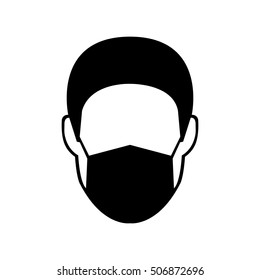 Breathing mask on man vector icon.