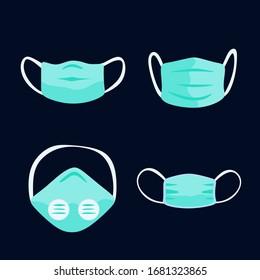 Atemmaske. Krankenhaus oder Verschmutzung schützen Gesichtsmasken.