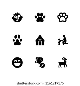 breed icon. 9 breed set with dog, paw, goofy and goat vector icons for web and mobile app