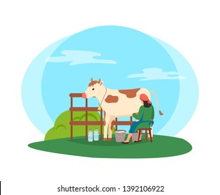 Breeding of animals and tending cows vector, milkmaid working with cattle in stable. Isolated worker with bottles sitting on stool by metal bucket