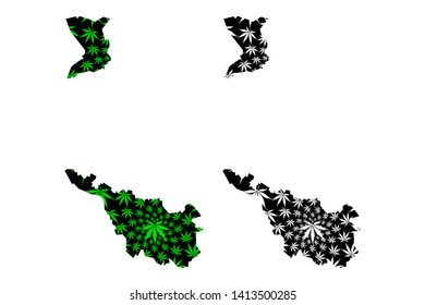 Bremen (Federal Republic of Germany, State of Germany) map is designed cannabis leaf green and black, Free Hanseatic City of Bremen map made of marijuana (marihuana,THC) foliage,