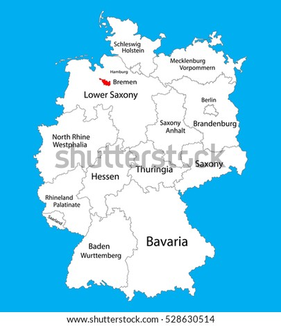 Bremen State Map Germany Vector Map Stock Vector (Royalty Free