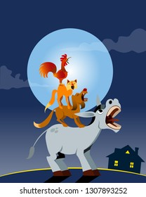 Bremen town musicians. Vector illustration on night background. For Children Books, Magazines, Web Pages, Blogs.