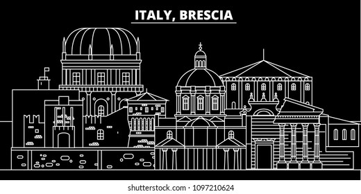 Brescia silhouette skyline. Italy - Brescia vector city, italian linear architecture, buildings. Brescia travel illustration, outline landmarks. Italy flat icons, italian line banner