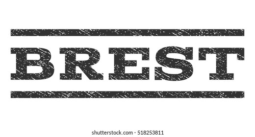 Brest watermark stamp. Text tag between horizontal parallel lines with grunge design style. Rubber seal stamp with scratched texture. Vector gray color ink imprint on a white background.