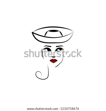 ba681719 Element of beautiful girl in a hat icon for mobile concept and web apps.  Thin lin Breton hat, girl icon can be used for web and mobile - Vector