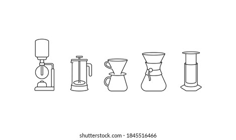 Brew bar simple thin line icon vector illustration. Syphon, aeropress, french press, pour over. Alternative coffee brewing methods. Specialty coffee.