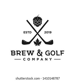 Brew and golf company, golf club logo
