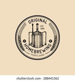 Brew kettle logo. Kraft beer mug logo. Lager cup retro sign. Hand sketched ale illustration. Vector vintage homebrewing label or badge.