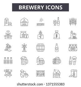 Brewer line icons, signs set, vector. Brewer outline concept, illustration: brewer,beer,alcohol,drink,brewery,beverage,design