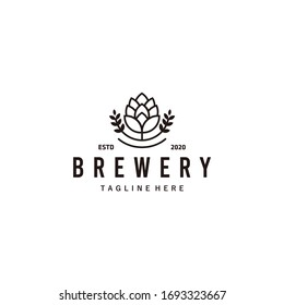 Brewery beer house label with logos of craft beer, emblems for beer house, bar, pub, brewing company, brewery, tavern on the black vector illustration