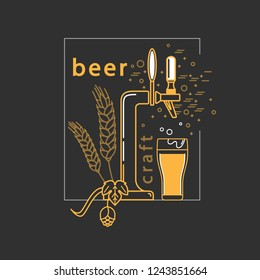 Brewery, craft beer label, alcohol shop, pub icon. Vector symbol in modern line style with beer tap, hop, wheat and beer glass.  Isolated elements on a dark background.