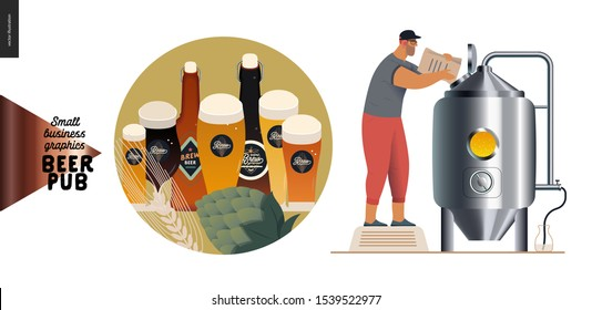 Brewery, craft beer pub -small business graphics -brewing process and some beer -modern flat vector concept illustrations -draught beer tank and brewer, menu icon -beer glasses and bottles, hop, wheat