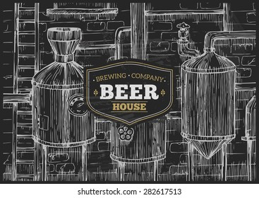 Brewery Factory Background. Lineart sketch graphic. Vector illustration