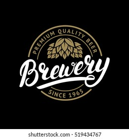 Brewery hand written lettering logo, label, badge template with hop for beer house, bar, pub, brewing company, tavern, wine whiskey market. Isolated on black background. Vector illustration.