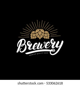 Brewery hand written lettering logo, label, badge template with hop for beer house, bar, pub, brewing company, tavern, wine whiskey market. Black background. Vintage style. Vector illustration.