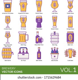 Brewery icons including american pint glass, imperial, pilsner, tulip, thistle, chalice, IPA, stout, weizen, stange, teku stemmed beer, mug, boot, keg, can, barrel, six pack, bottle, bucket, craft.