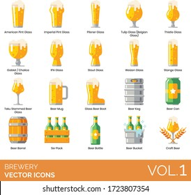 Brewery icons including american pint glass, imperial, pilsner, tulip, belgian, thistle, goblet, chalice, IPA, stout, weizen, stange, teku stemmed beer, mug, boot, keg, can, barrel, six pack, bottle.