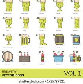 Brewery icons including american pint glass, imperial, pilsner, tulip, thistle, goblet, IPA, stout, weizen, stange, teku stemmed beer, mug, boot, keg, can, barrel, six pack, bottle, bucket, craft.