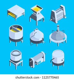 Brewery isometric. Vector plant for production of beer. Production isometric beer, brewery and brewing beverage process illustration