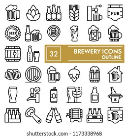 Brewery line icon set, beer symbols collection, vector sketches, logo illustrations, ale signs linear pictograms package isolated on white background, eps 10