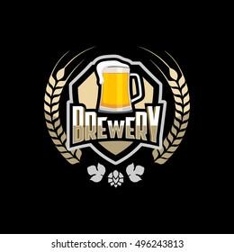 Brewery logo emblem design vector .