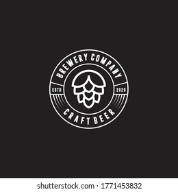 Brewery minimalist logo design, label, badge, emblem with hop. Craft Beer Vintage retro style. Isolated on background. Vector icon illustration.