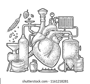 Brewery process on factory with tanks, ear, hops, burner. Heart in the center of the production. Isolated on white background. Vintage vector engraving illustration for web, poster, label craft beer