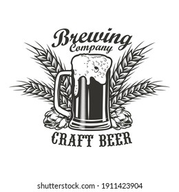 Brewing company emblem design. Monochrome element with glass of beer, hops and wheat ears vector illustration with text. Alcohol and bar concept for symbols and labels templates