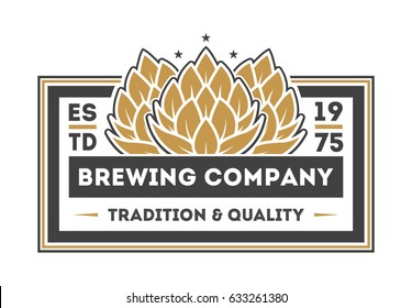 Brewing company vintage isolated label vector illustration. Traditional brewing company symbol, premium quality alcohol product, craft beer badge.