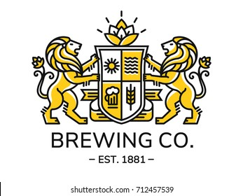 Brewing emblem heraldry line style with lion, shield and crown - vector illustration, logo design on white background