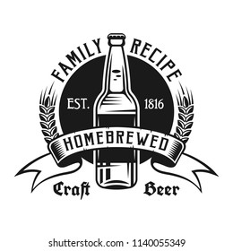 Brewing emblem, label, badge or logo in monochrome vintage style with beer bottle and ribbon for text isolated on white background