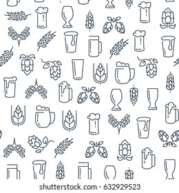 Brewing monochrome seamless pattern with beer lined icons and elements on white background vector illustration