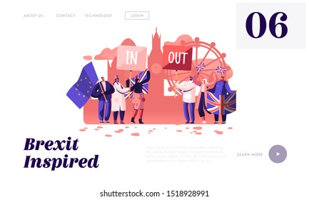 Brexit and Anti Brexit Supporters Demonstration Website Landing Page. People with Britain and European Union Flags United Kingdom Politics Concept Web Page Banner. Cartoon Flat Vector Illustration