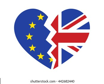 Brexit or Britain exiting / withdrawal from the European Union flat vector icon for websites