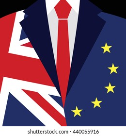 Brexit concept. British flag, EU flag. EU referendum. Symbol of imminent exit of Great Britain out of the European Union. Vector illustration background.