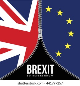 Brexit concept. British flag. EU flag. EU referendum. Symbol of imminent exit of Great Britain out of the European Union. Vector illustration background.