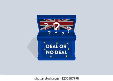 Brexit Deal or No Deal - British withdrawal from the European Union. Flat vector illustration.