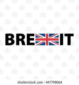 Brexit Design Concept Devoted United Kingdom's EU Referendum - Black Letters with Blue and Red Elements of British Flag on Light Grey Queen's Crown Symbol Wallpaper Background - Icon Flat Design