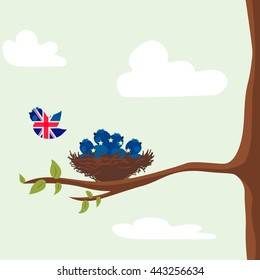 Brexit. EU and Great Britain flag. EU referendum. Bird fly away from nest. Vector illustration background.