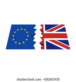 BREXIT, EU-UK referendum, breaking flags, vector illustration