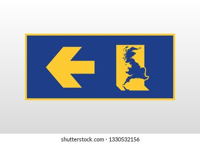Brexit: exit sign in EU colors with the map of Great Britain exiting through the emergency exit
